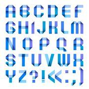Spectral letters folded of paper ribbon-blue - stock illustration