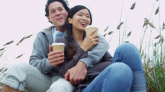 Asian Chinese Couple Warm Clothes Outdoors Beach Coffee Stock Footage