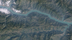 Yangtze River aerial to Three Gorges Dam in China Stock Footage