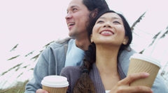 Young Ethnic Beach Couple Healthy Outdoor Beach Lifestyle Stock Footage