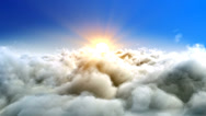 Stock Video Footage of impressive looped intro background, Flight over clouds, to the sun loop-able