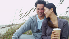 Young Ethnic Couple Love Together Outdoors Fall Beach Stock Footage