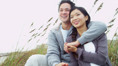 Young Ethnic Couple Love Together Outdoors Fall Beach - stock footage