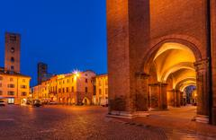 central square of alba early in the morning. - stock photo