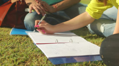 Close up of girl, student drawing, education concept Stock Footage
