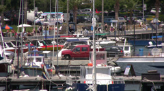 Paphos harbor viewed from a high angle zooming out Stock Footage