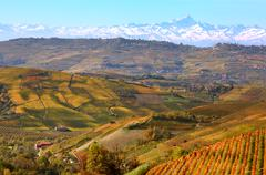 hills and mountains. piedmont, italy. - stock photo