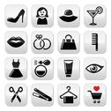 Stock Illustration of Woman or girl - beauty and fashion vector icons set