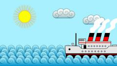 Cartoon Passenger Liner Background Stock Footage