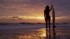 Healthy Young Surfing Female Living Outdoor Beach Lifestyle Stock Footage