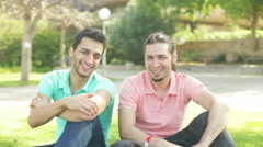 Two guys waiting to be photographed Stock Footage