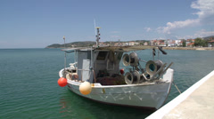 Fisher boat in limenaria thassos greece Stock Footage