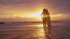 Young Caucasian Female Surfer Beach Ocean Shallows Stock Footage