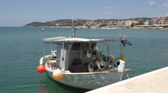 Fishing boat in limenaria thassos greece Stock Footage