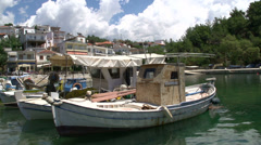 Fishing boats in limenaria harbor thassos greece Stock Footage