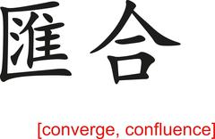 Chinese Sign for converge, confluence Stock Illustration