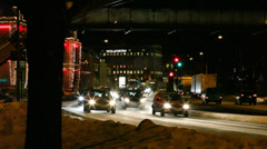 Traffic in a cold winter night Stock Footage