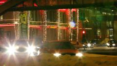 Traffic in a winter night Stock Footage