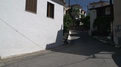 Street pan in skala marion Thassos Greece Stock Footage