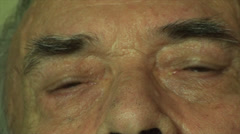80 Years Old Man, Looking At Camera, Super Close Up Of Eyes Stock Footage