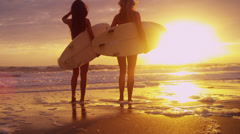 Healthy Young Surfing Females Living Outdoor Beach Lifestyle Stock Footage