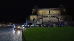 Rome, Italy, Piazza Venezia, Vittoriano, or Altare della Patria at night. Stock Footage