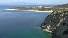 Coast line in front of skala marion Thassos Greece Stock Footage