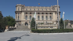 National Military building, Romania Bucharest landmark, beautiful construction  Stock Footage