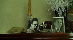 Corner Of An Old Lady's House With Memories, Dusty, Family, Pan Stock Footage