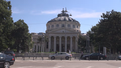 Important national building in Romania, Bucharest landmark, Athenaeum background Stock Footage