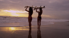 Young Caucasian Female Surfers Beach Ocean Shallows Stock Footage