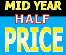 mid year half price promotion label - stock illustration