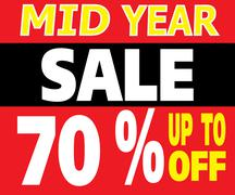 mid year sale up to 70 percents promotion label - stock illustration