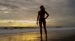 Caucasian Girl Wearing Bikini Sunrise Loving Beach Lifestyle Stock Footage