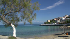 Beach and village in skala marion Thassos Greece Stock Footage