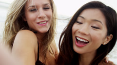 Beautiful Multi Ethnic Girls Beach Close Up Social Messaging Friends Stock Footage