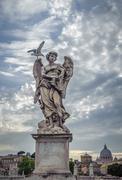 sculpture of angel with veronica's veil, sant'angelo bridge, rome - stock photo