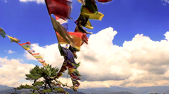 Buddhist prayer flags wave in the wind, Stock Footage