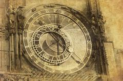 Stock Illustration of vintage image of prague astronomical clock, orloj,  in the old town of prague