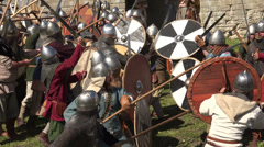 A battle. The fight of the Vikings. 4K. Stock Footage