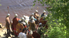The camp of the Vikings. 4K. Stock Footage