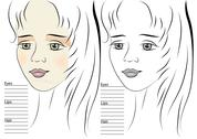 Stock Illustration of portrait of girl. makeup sketch template