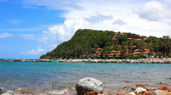 Beautiful Andaman Sea and Blue Sky. landscape on island with houses, trees in Stock Footage