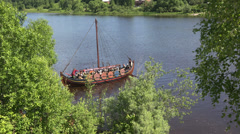 Combat Viking ship. 4K. Stock Footage