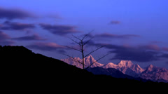 Clouds and Himalayan mountains timelapse. Stock Footage