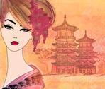 Abstract beautiful geisha portrait Stock Illustration