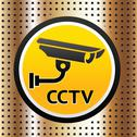 Stock Illustration of Video surveillance symbol on a golden background