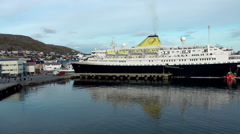 Europe Norway the North Cape 015 berth of cruise ship in Honningsvåg Stock Footage