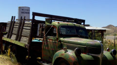 Abandoned 1950s Era Farm Truck Along Route 66- Hackberry AZ Stock Footage