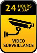 Video surveillance sign - stock illustration